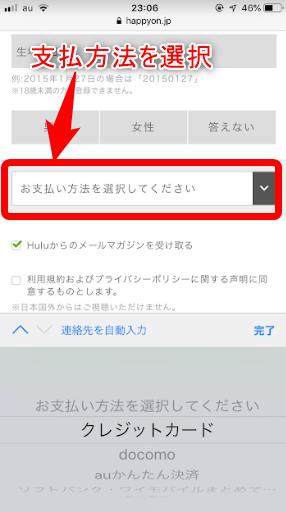 hulu支払方法選択画面